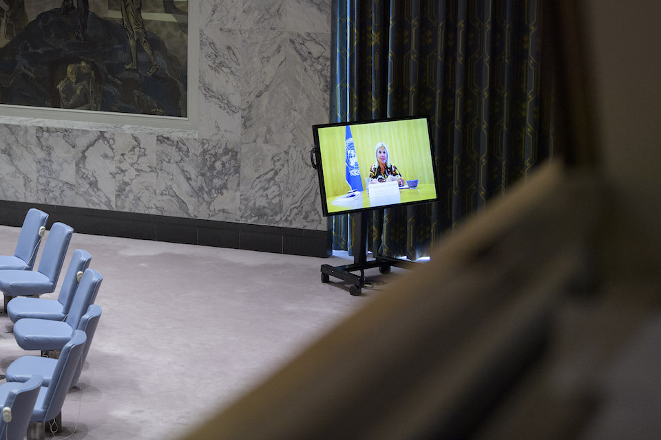 A view of a screen in the Security Council chamber of Jeanine Hennis-Plasschaert Special Representative of the Secretary-General for Iraq and Head of the United Nations Assistance Mission for Iraq. (UN Photo)