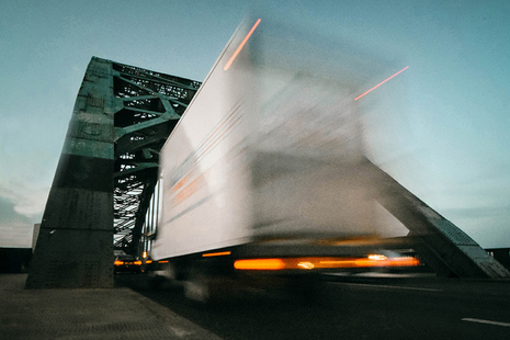 Picture of truck in motion.