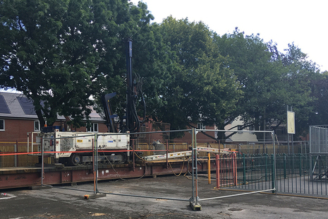 Works being carried out in the Ashmore Park play area.