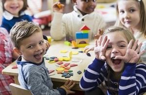 preschool children pulling faces