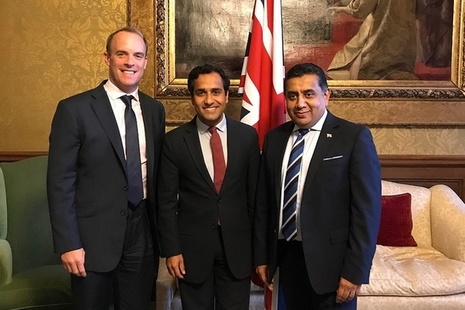 Posing is Dominic Raab, Lord Ahmad and Rehman Chishti