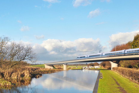 Artists impression of an HS2 train on a bridge passing over a canal with towpath and lock