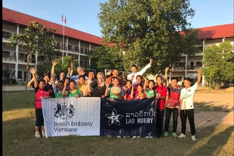 Minister for Asia and Pacific, Heather Wheeler with Lao Rugby Federation