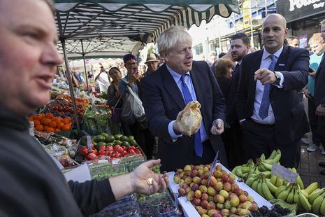 Prime Minister Boris Johnson at street market in Doncaster