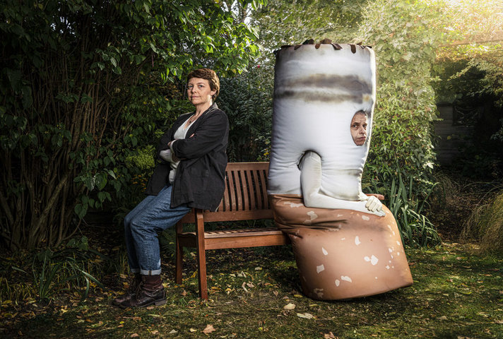Glum-looking cigarette - campaign image for Stoptober