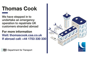 Government and UK CAA launches largest repatriation in peacetime history after collapse of Thomas Cook