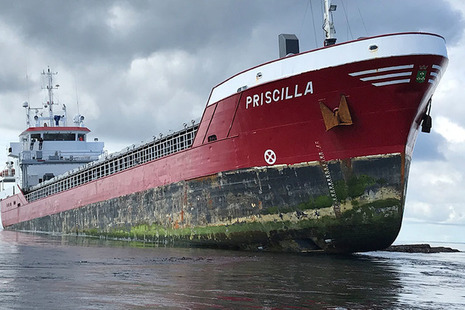 Priscilla aground - Image courtesy of RNLI