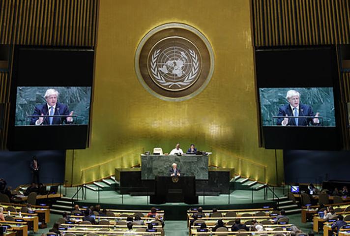 Wide shot of UN General Assembly during PM Boris Johnson's speech
