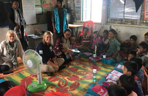 Baroness Sugg pictured visiting a UNICEF learning centre in Cox's Bazar, Bangladesh.