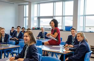 classroom of happy students