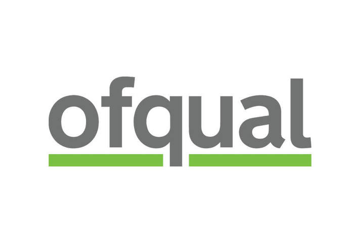 Logo showing word Ofqual in black lower case letters on a white background, with green line underneath