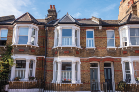 Traditional British brick terraced houses in Greenwich, London