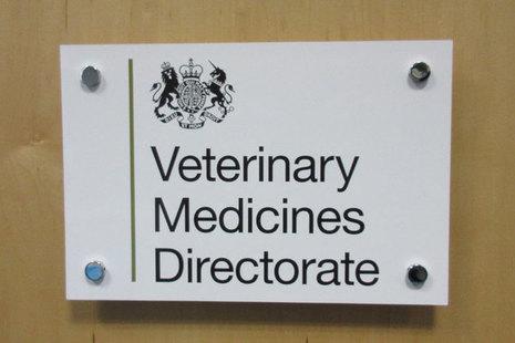 Veterinary Medicines Directorate logo on lecturn