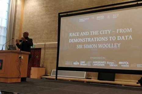Sir Simon Woolley giving a speech at the 'Race and the City' conference in Bristol on 18 October 2019