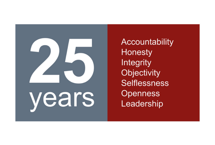 Image featuring: 25 years and listing the 7 Principles of Public Life