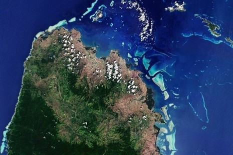 Satellite image of Fiji, the Solomon Islands and Vanuatu. Credit UK Space Agency - Forests2020