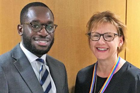 Godfrey Atuahene Junior and Sarah Harrison side by side