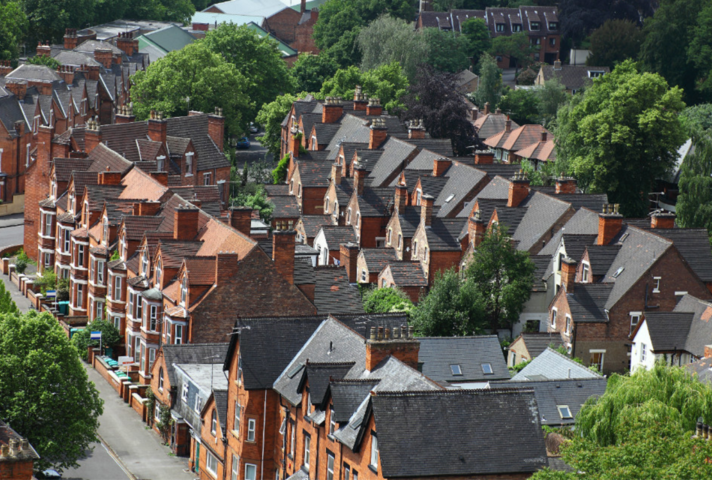 Aerial picture of Victorian terraced houses
