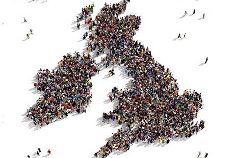 British Isles map full of people