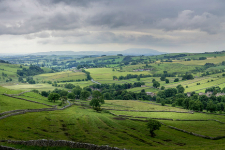View of the countryside in Malham, North Yorkshire