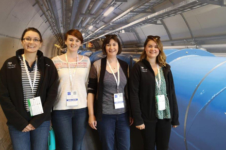 Cara Callingham, Alice Mellor, Abby Moorhouse and Megan Nicholson pictured with the Hadron Collider.