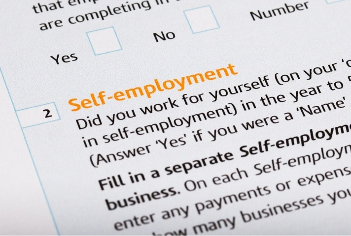 Picture of form with title self-employment