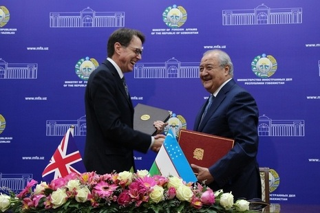 Her Majesty's Ambassador to Uzbekistan Tim Torlot signed the agreement with Uzbek Foreign Minister Abdulaziz Kamilov in Tashkent