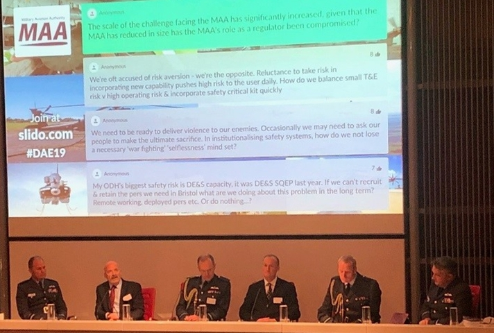 Image of the speakers from the military front line, the MAA and Defence Equipment and Support (DE&S) were joined by EasyJet.