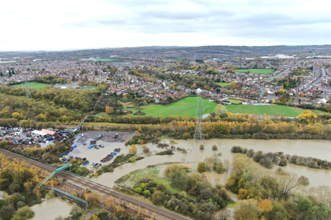 Aerial photo showing flooding at Woodhouse Washland Nature Reserve, South Yorkshire
