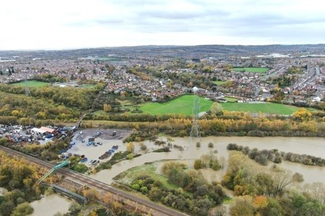Aerial photo showing flooding at Woodhouse Washlands Nature Reserve, South Yorkshire
