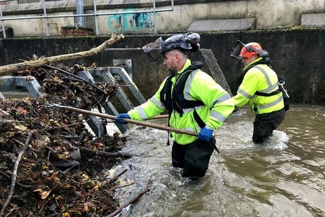 Environment Agency teams clearing debris