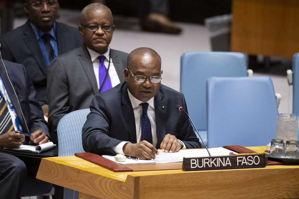 Alpha Barry, Minister for Foreign Affairs and International Cooperation of Burkina Faso, addresses the Security Council meeting on Peace and Security in Africa and the Joint Force of the Group of Five for the Sahel. (UN Photo)