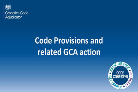 Blue background with the words Code provisions and related GCA publications in white.