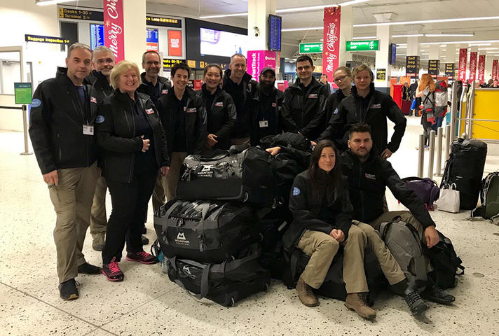 The UK Emergency Medical Team pictured at Manchester Airport ahead of being deployed to Samoa.