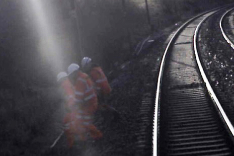 Forward facing CCTV image showing the track workers moved clear just before the train passed (Image courtesy of Virgin Trains)