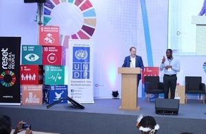 Philip Smith giving a speech at the 2019 Global Youth SDGs Summit in Accra