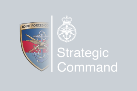 UKStratCom logo, shows half of the Joint Forces Command logo and the new UK StratCom logo to outline the organisational transition.