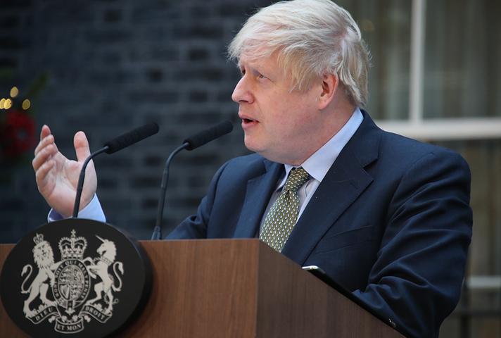 Photo of Prime Minister Boris Johnson speaking in Downing Street