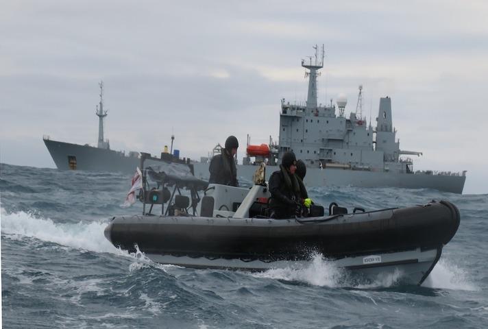 HMS Scott at sea.