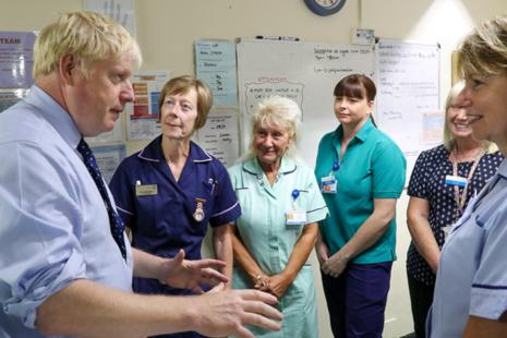 Boris Johnson speaks to NHS staff.