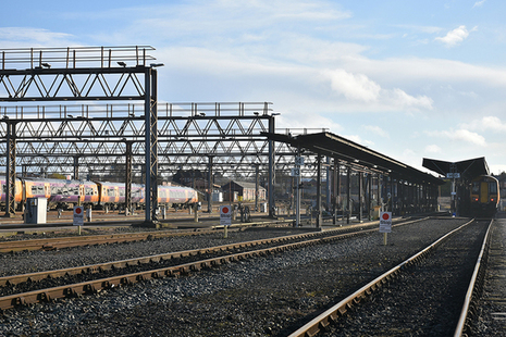 Tyseley depot showing rail, gantries and maintenance facilities (the trains shown were not those involved in the accident)