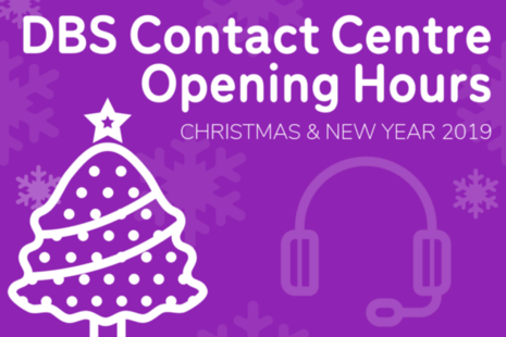 Purple graphic with white Christmas tree and headset that reads 'DBS Contact Centre Opening Hours'