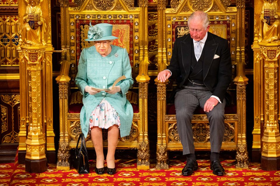 HM The Queen with HRH Prince Charles