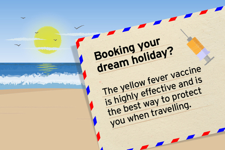 Beach background and text on importance of yellow fever vaccine