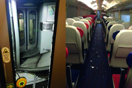 Image showing damage to the vestibule end and debris in the saloon (left image courtesy of CrossCountry, right image courtesy of Bombardier Transportation UK).