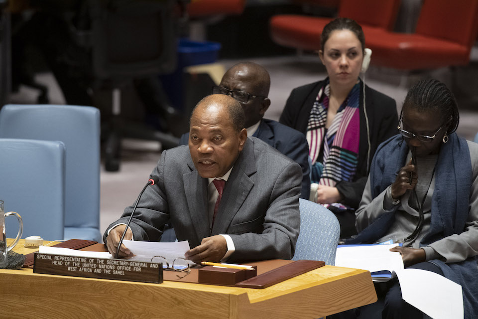 SRSG Chambas at the Security Council briefing on UNOWAS (UN Photo)