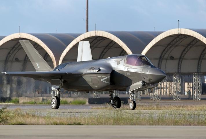 A United Kingdom F-35B Lightning II taxiing at Eglin Air Force Base, Florida, USA. MOD Crown Copyright.
