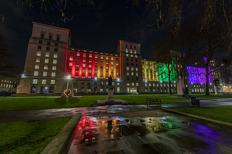 Ministry of Defence main building lit in rainbow colours