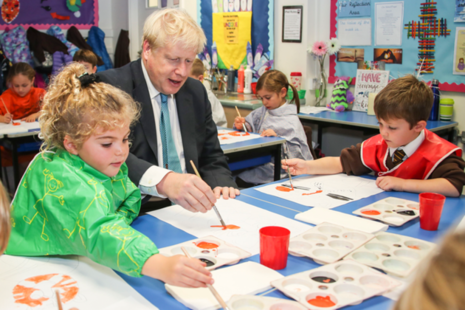 PM Boris Johnson visiting a primary school