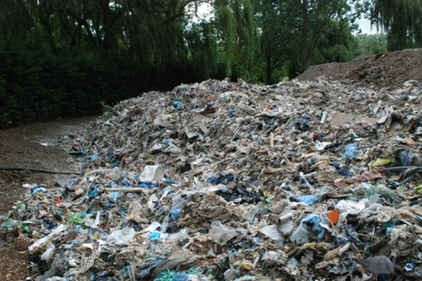 Pile of waste at an illegal waste site